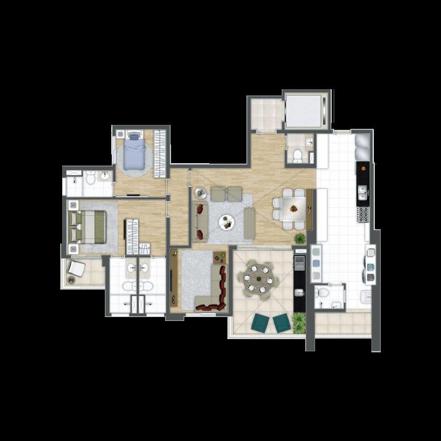 138 m² | 2 suítes | Living Ampliado Grand Panamby