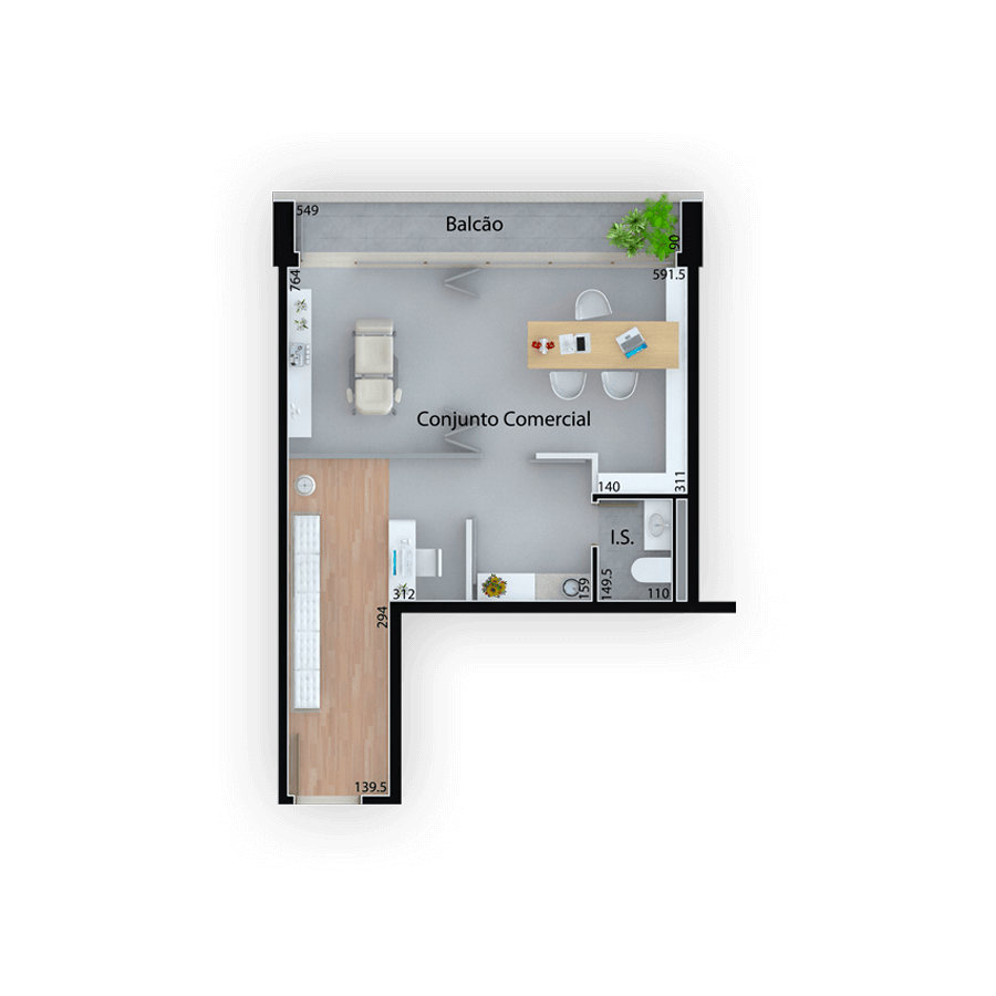 42 m² **Planta Comercial Mid Work