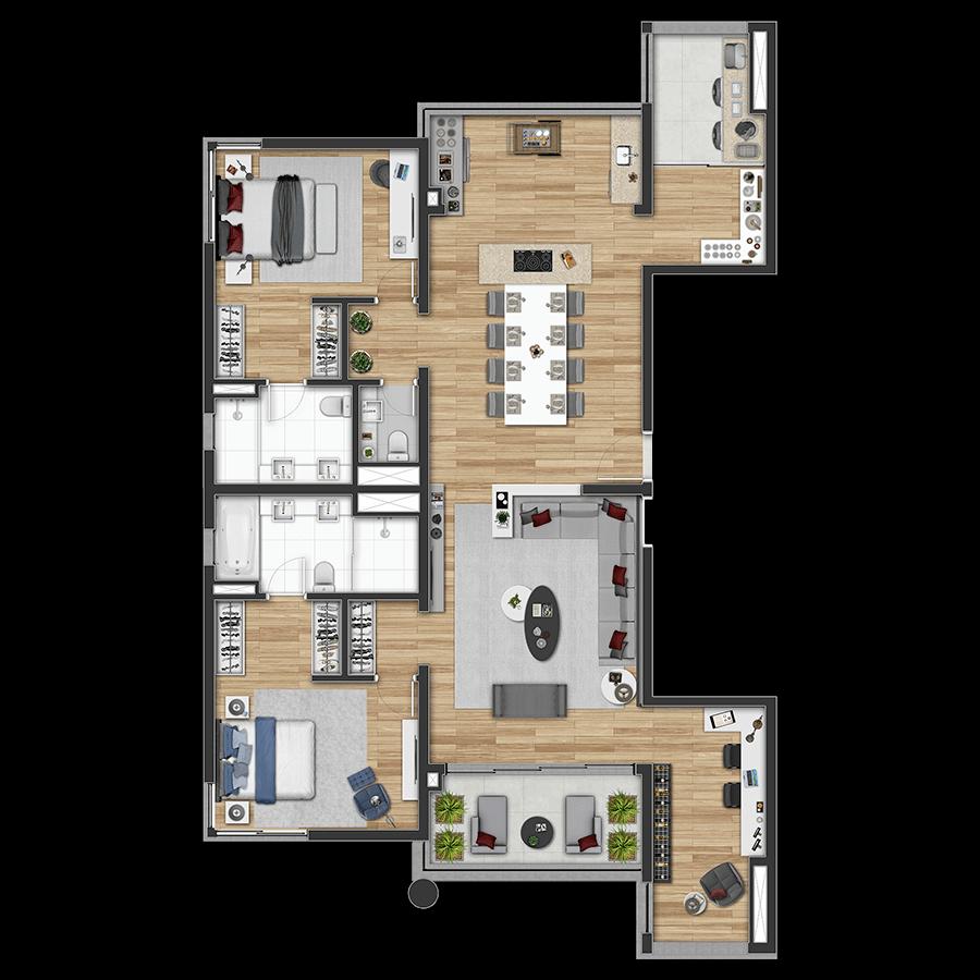 158 m²* **2 Suítes 1300 Jurupis