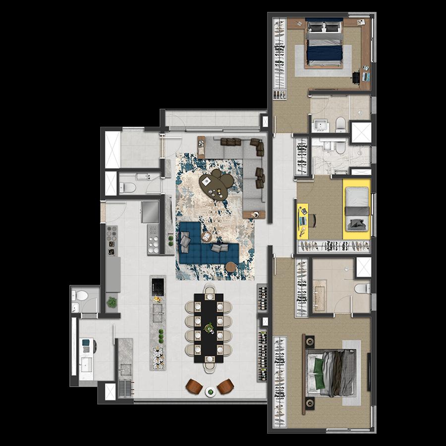 163 m² **3 Suítes 1300 Jurupis
