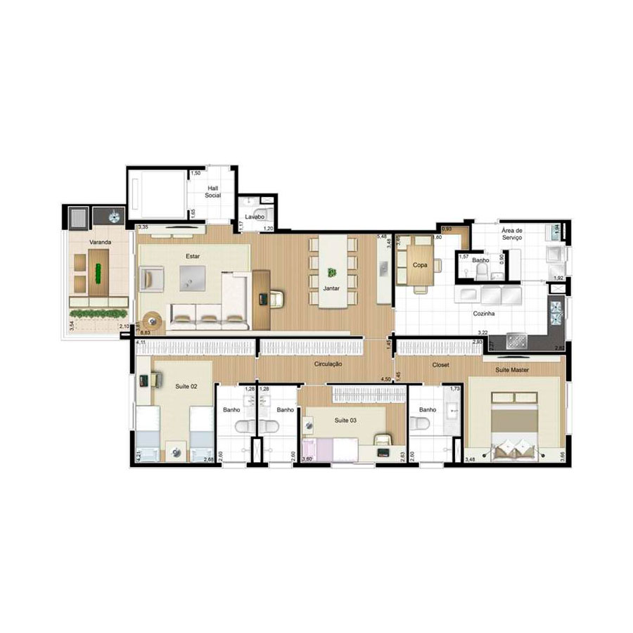Ilustração Artística da Planta 139 m² tipo 1 Quartier