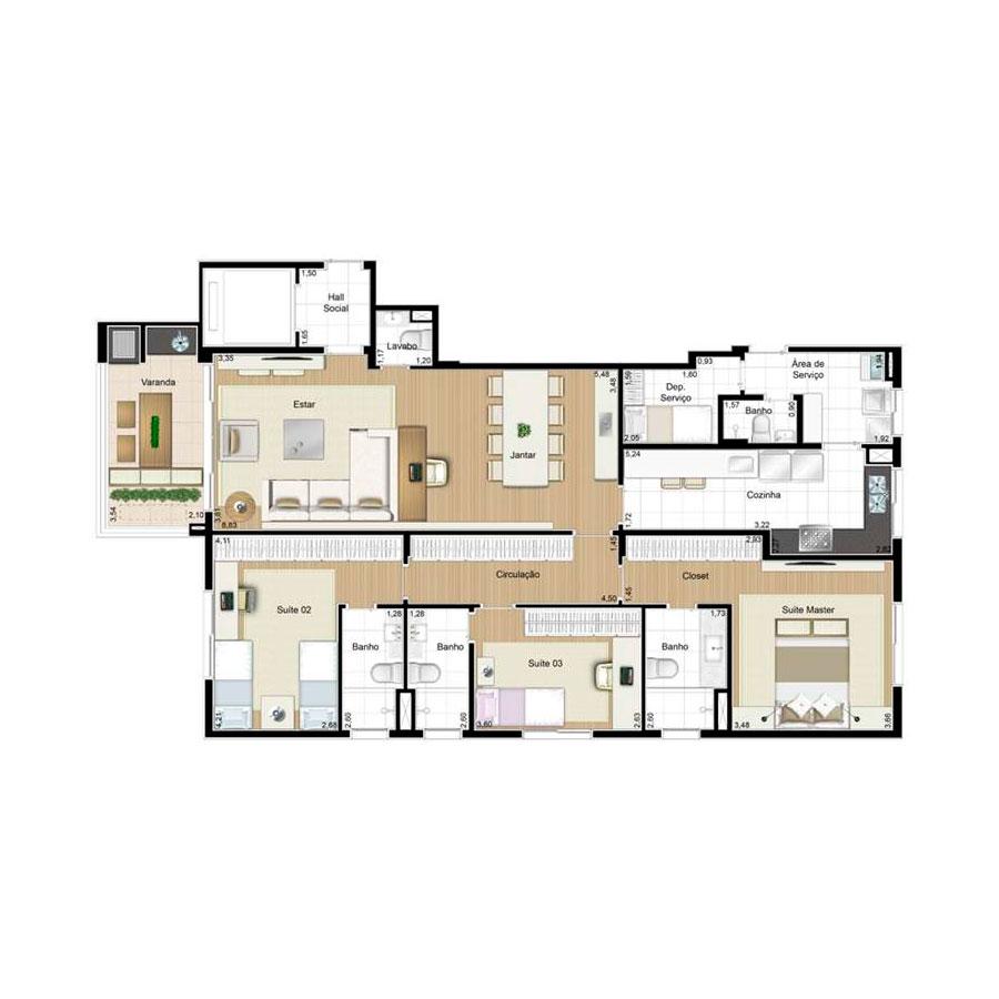 Ilustração Artística da Planta 139 m² tipo 2 Quartier