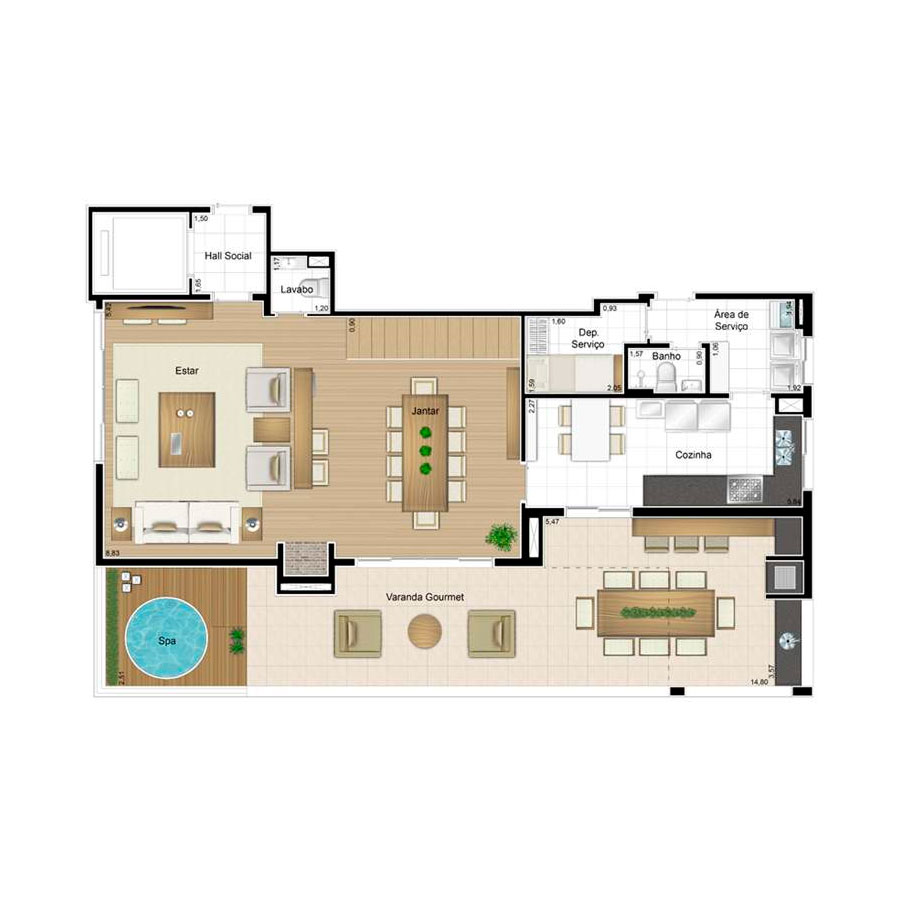 Ilustração Artística da Planta Duplex Inferior 139 m² Quartier