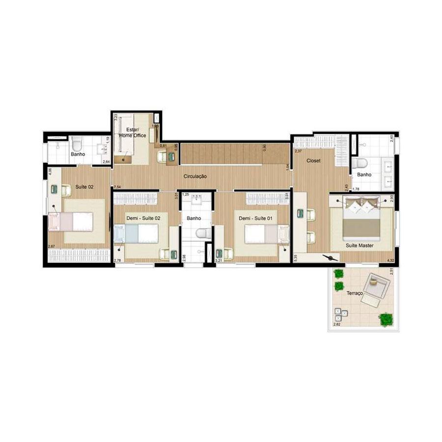 Ilustração Artística da Planta Duplex Superior 139 m² Quartier