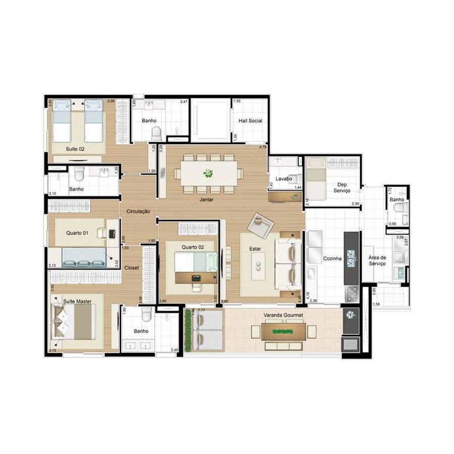 Ilustração Artística da Planta 158 m² tipo 1 Quartier