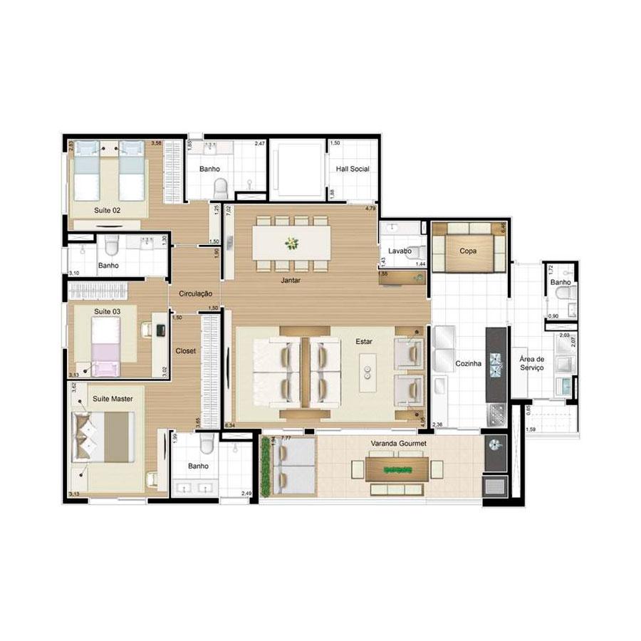 Ilustração Artística da Planta 158 m² tipo 2 Quartier
