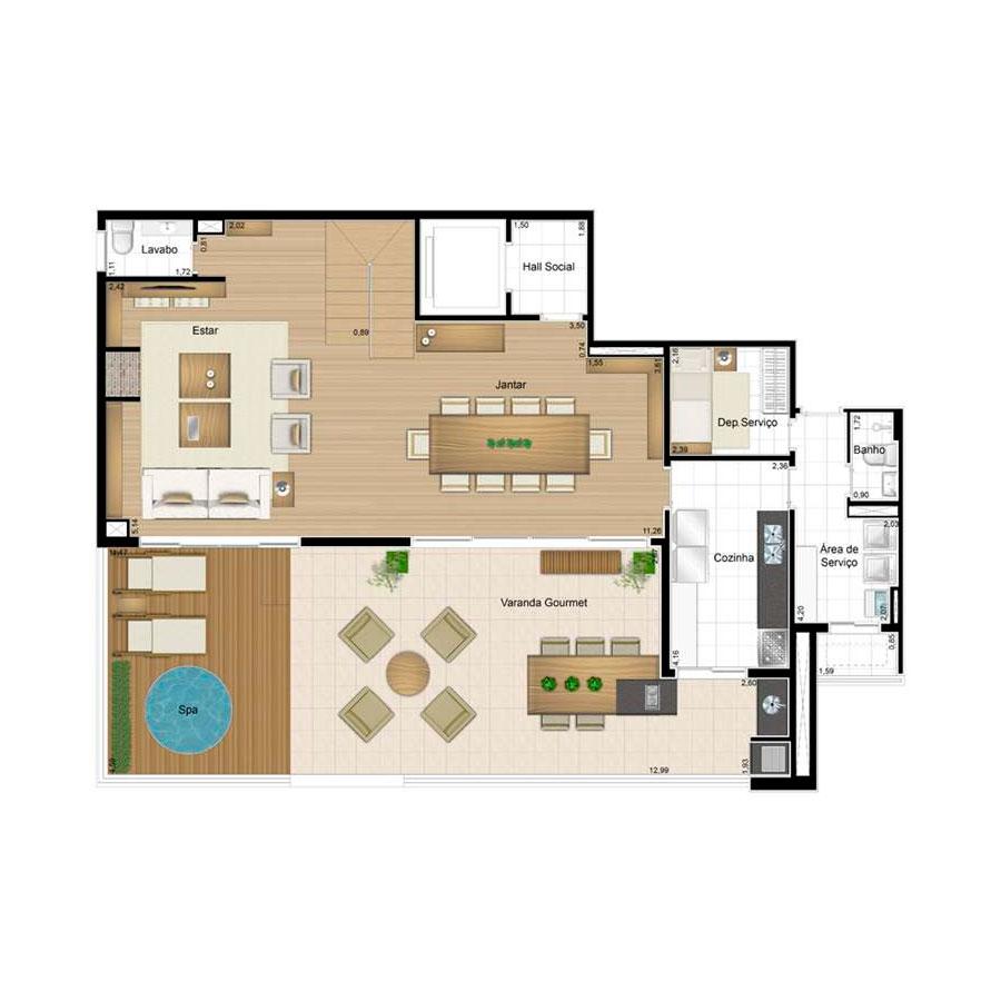 Ilustração Artística da Planta Duplex Inferior 158 m² Quartier