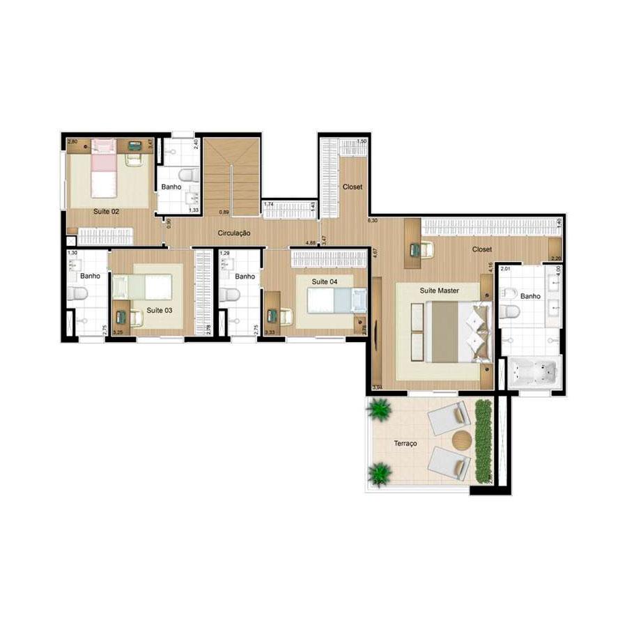Ilustração Artística da Planta Duplex Superior 158 m² Quartier