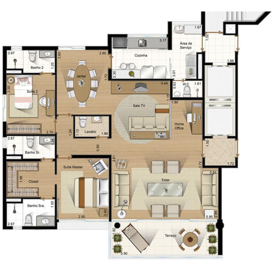 itanhatim-planta-132m-3Ilustração Artística da Planta - Apto 132 m² - Tipo 3 Passeio de Itanhatim