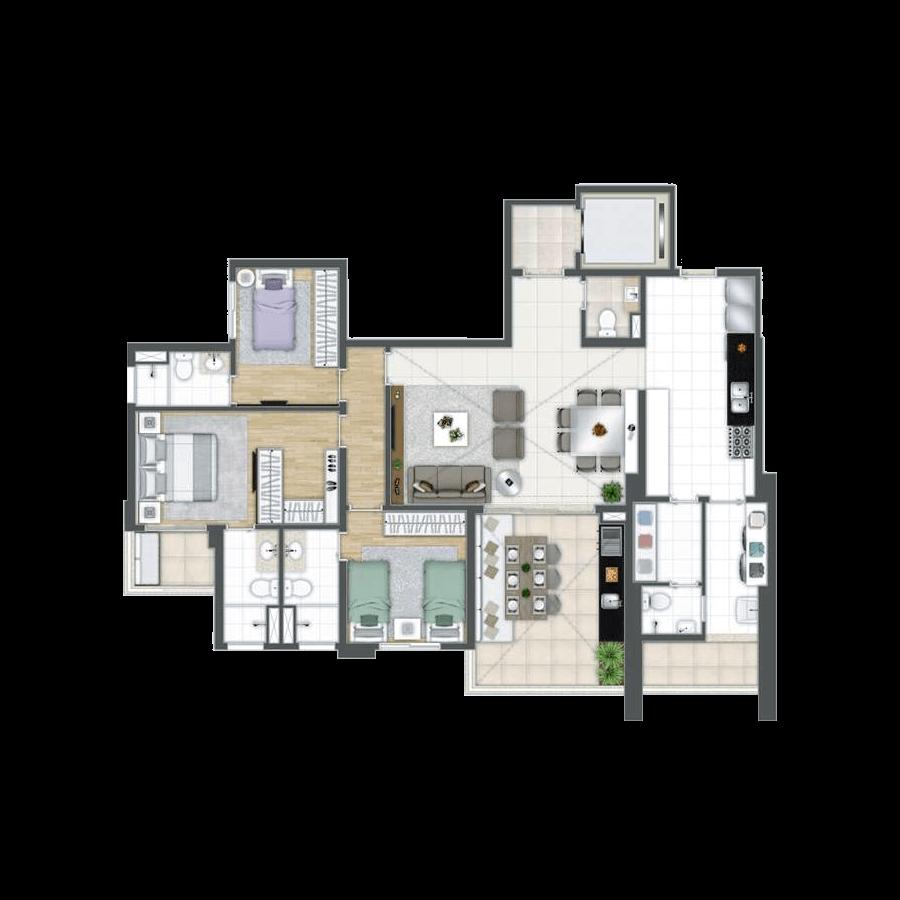 138 m² | 3 suítes Grand Panamby