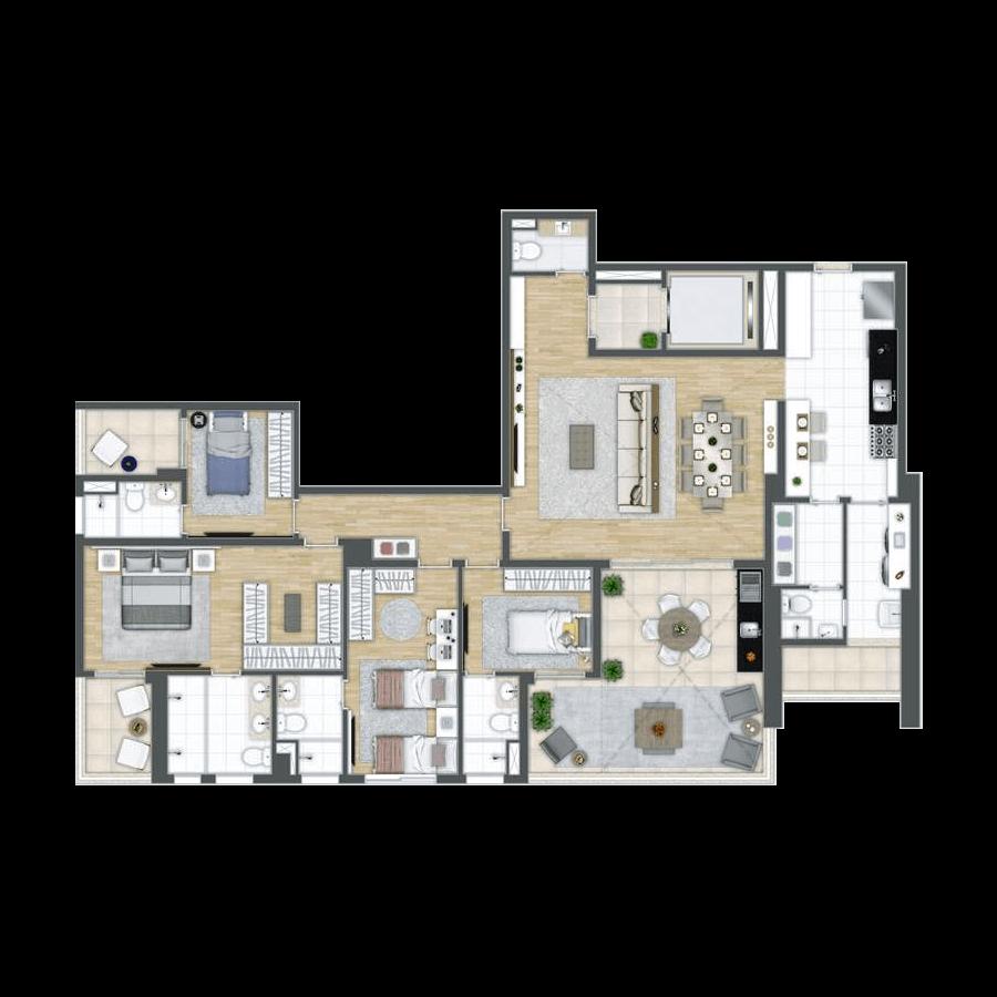 185 m² | 4 suítes Grand Panamby