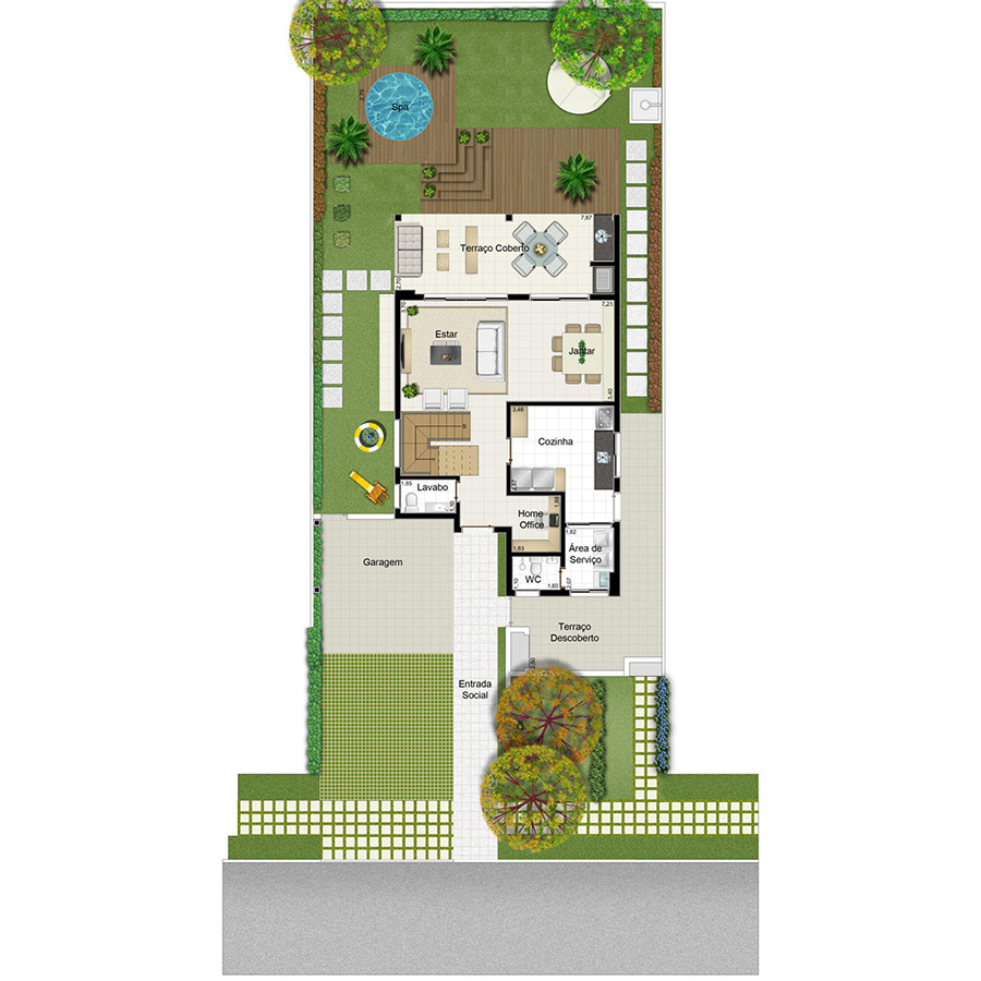 Ilustração Artística da Planta 189 m² Piso Inferior Opção 2 Jardim Sul Riberão Preto