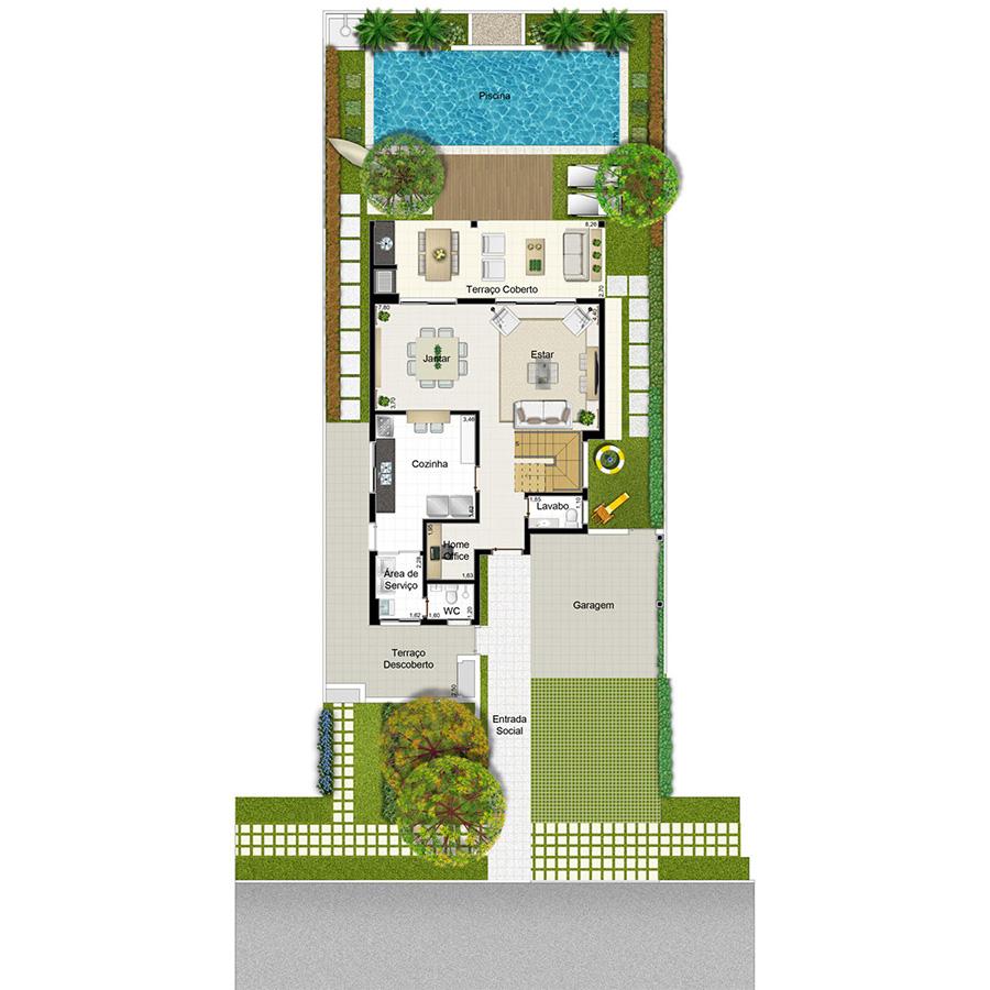 Ilustração Artística da Planta 253 m² Piso Inferior Opção 2 Jardim Sul Riberão Preto