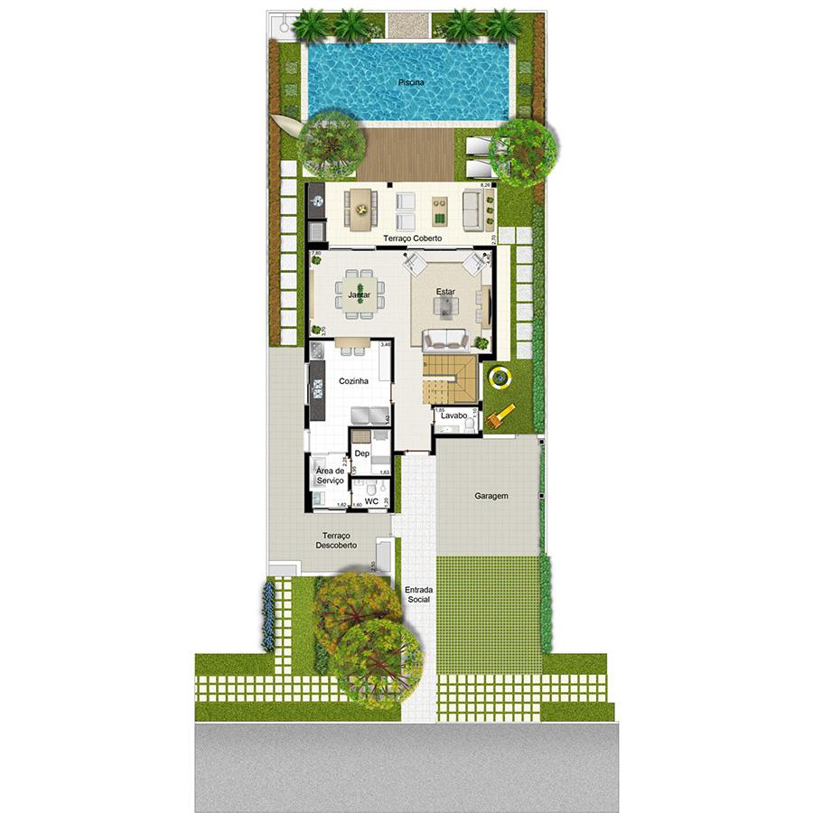 Ilustração Artística da Planta 222 m² Piso Inferior Opção 2 Jardim Sul Riberão Preto