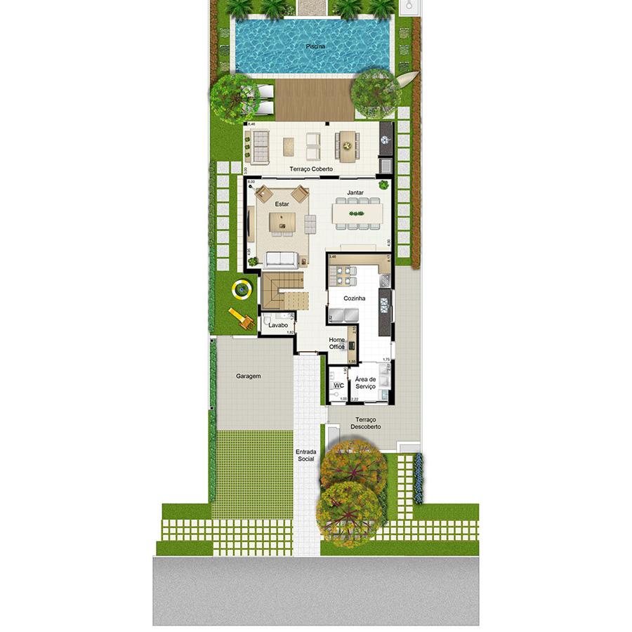Ilustração Artística da Planta 253 m² Piso Inferior Jardim Sul Riberão Preto