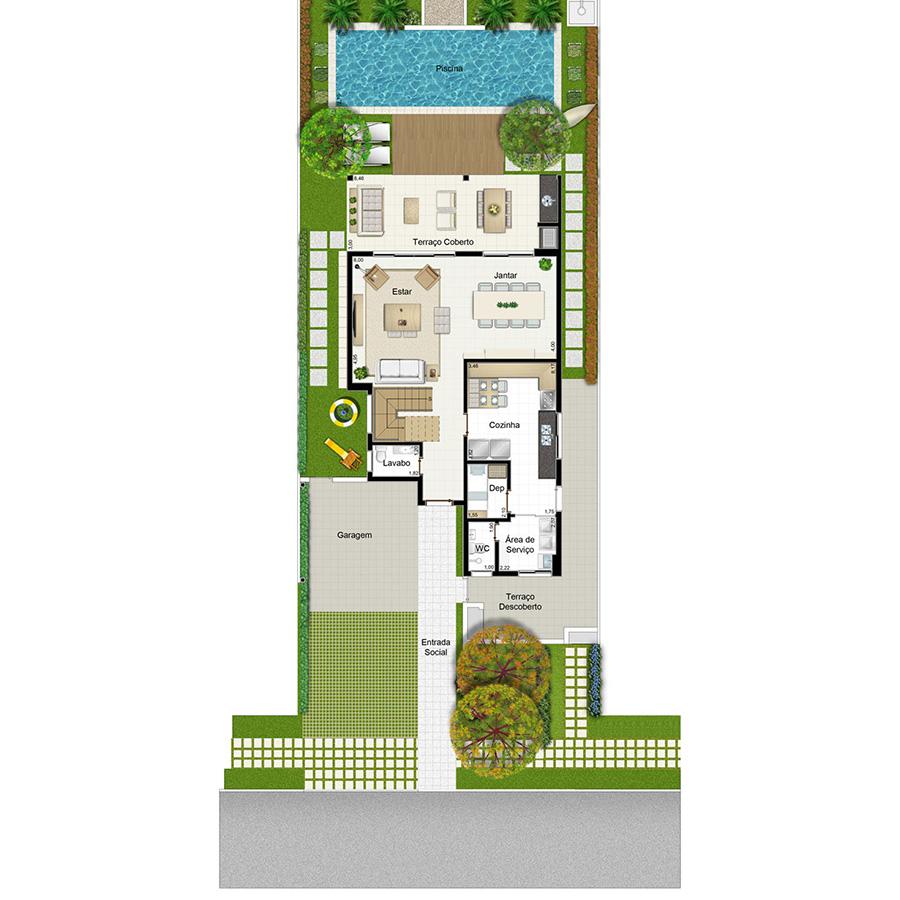 Ilustração Artística da Planta 253 m² Piso Inferior Opção 3 Jardim Sul Riberão Preto