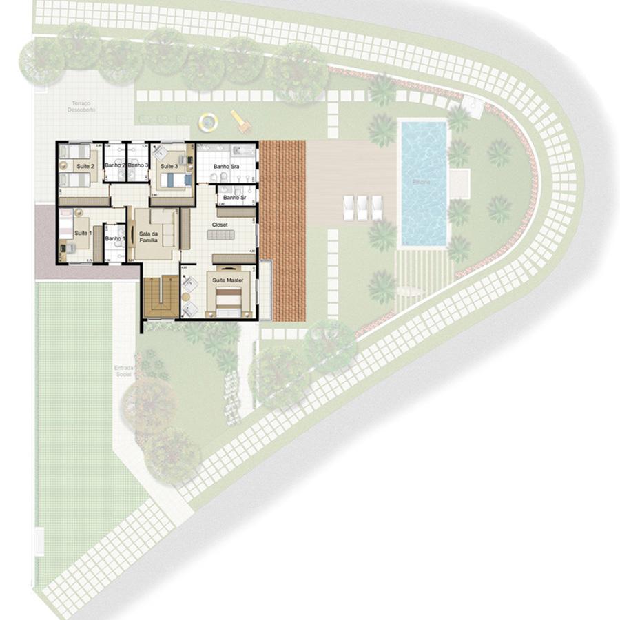 Ilustração Artística da Planta 315 m² Piso Superior Jardim Sul Riberão Preto