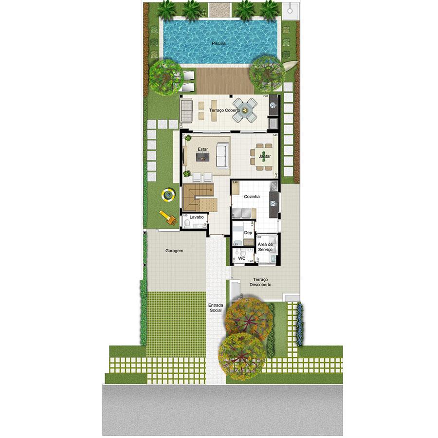 Ilustração Artística da Planta 189 m² Piso Inferior  Jardim Sul Riberão Preto