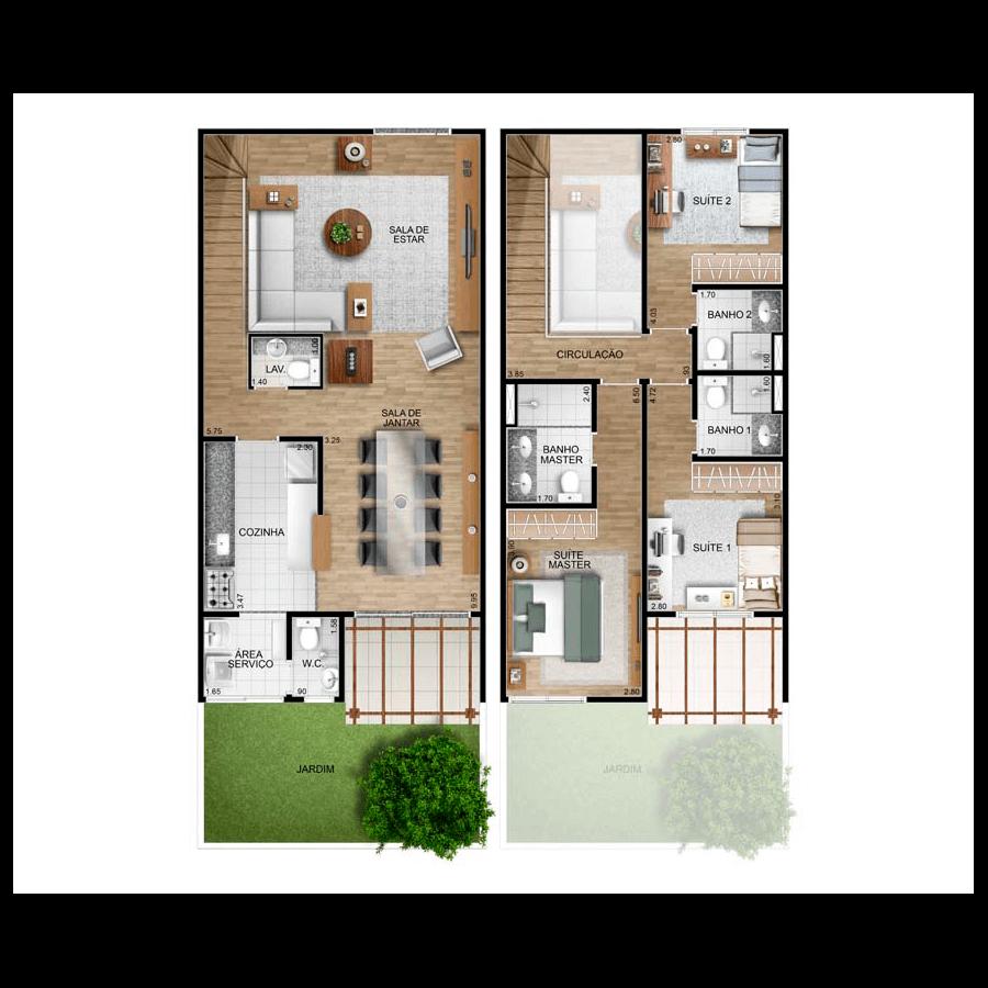 Ilustração Artística da Planta Casa A Vila Allegra