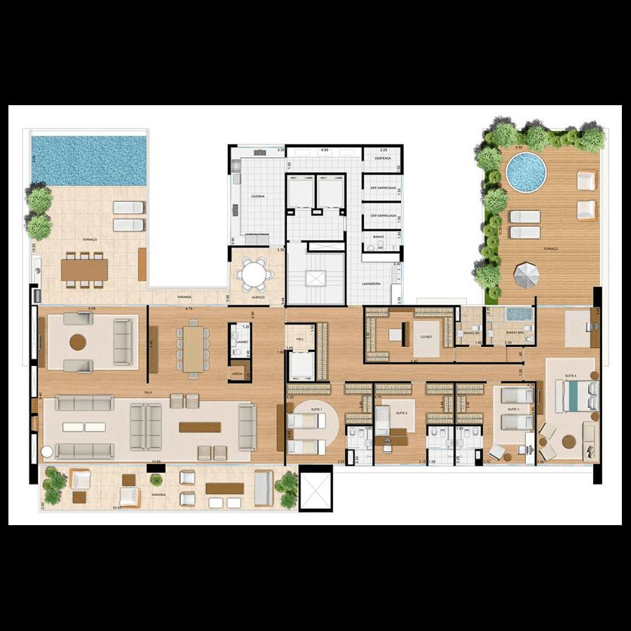 Ilustração Artística da Planta Penthouse 627 m² VISTA PACAEMBU