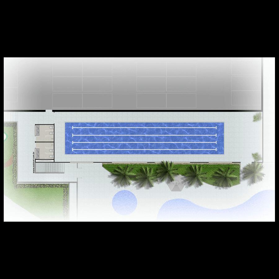 Ilustração Artística da Planta 320 m² Implantação Wave