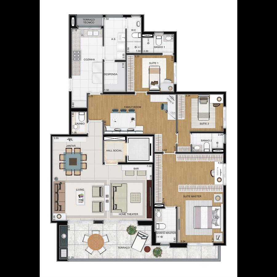 Ilustração Artística da Planta 180m² Suites JARDINS DE VILA RICA