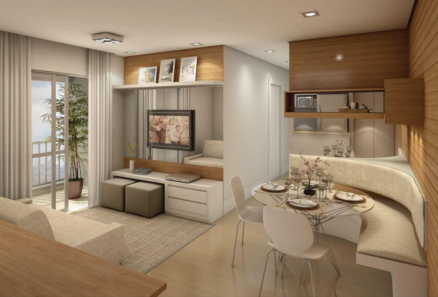 Perspectiva Ilustrada do Living 51m² INNOVA BLUE