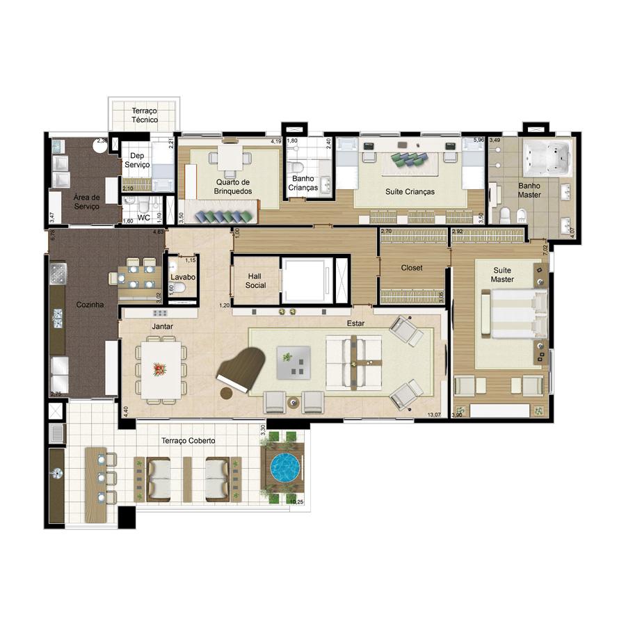 Ilustração Artística da Planta 281 m² tipo 2 ID JARDIM SUL