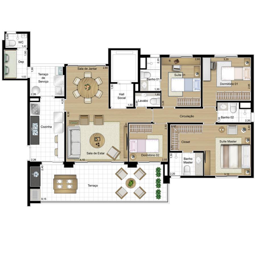 Ilustração Artística da Planta 138 m² tipo 1 FOTOGRAFIA