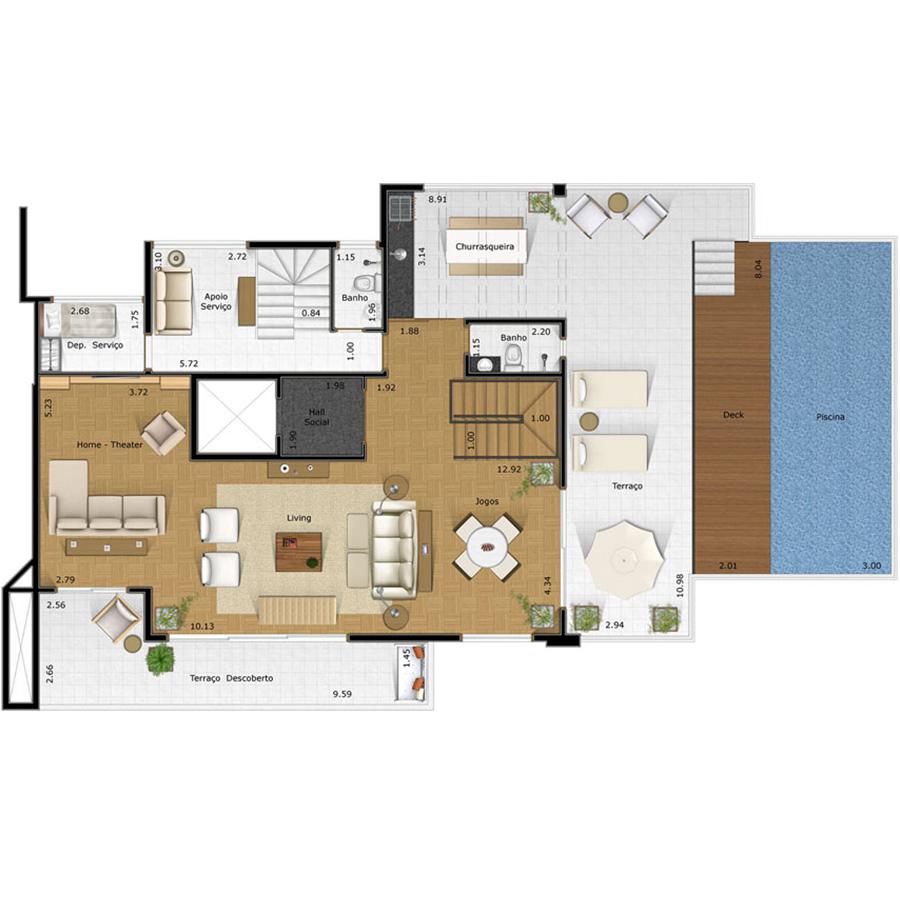 Ilustração Artística da Planta da Cobertura 225 m² Piso Superior FORTE DO GOLF