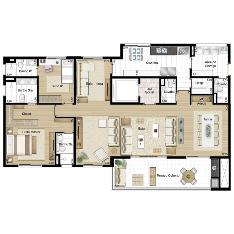 Ilustração Artística da Planta 171 m² tipo 2 CRISTAIS DA TERRA