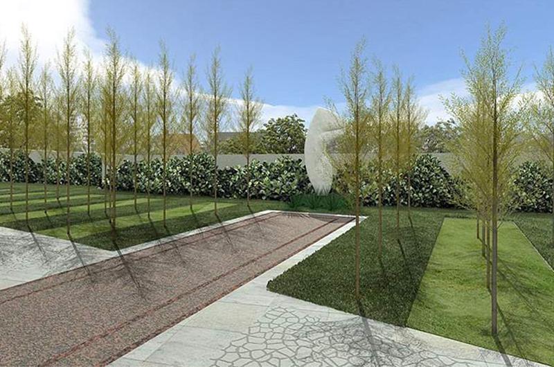 perspectiva ilustrativa do jardim das esculturas Raízes da Mata