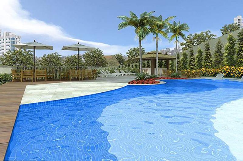 perspectiva ilustrativa da piscina adulto descoberta com bar tropical Raízes da Mata