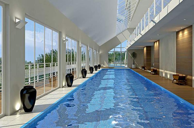 perspectiva ilustrativa da piscina de adulto coberta Refúgio da Mata