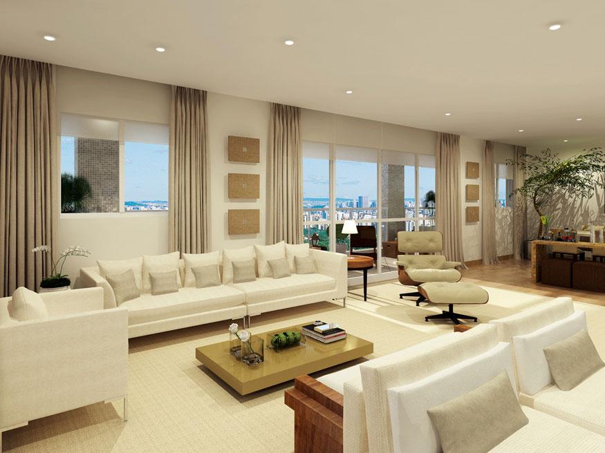 Perspectiva ilustrada da sala de estar 223 m² Porto Pinheiros