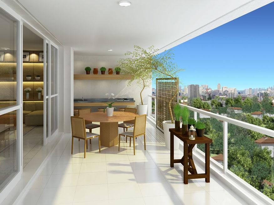 Perspectiva ilustrada do terraço 181 m² Porto Pinheiros