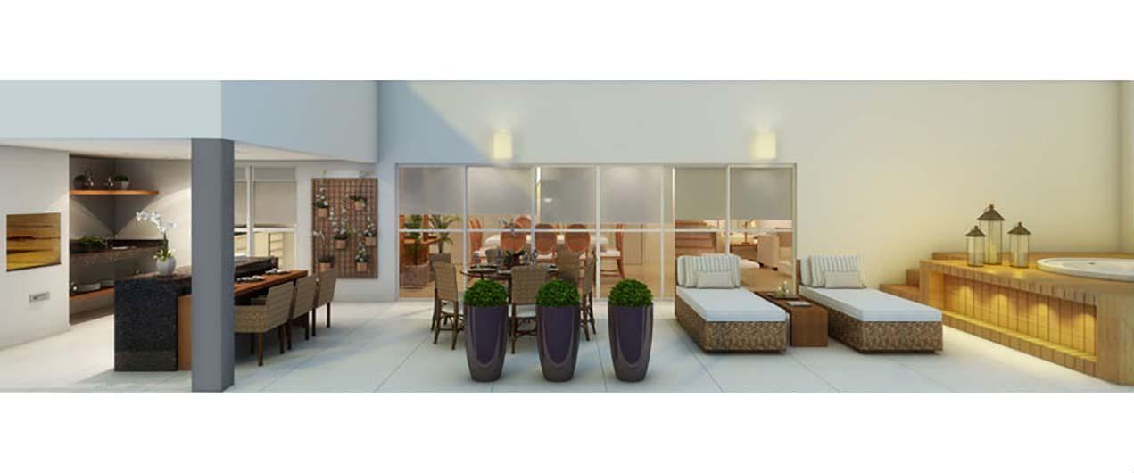 Perspectiva Ilustrada do Terraço Duplex 324 m² Quartier