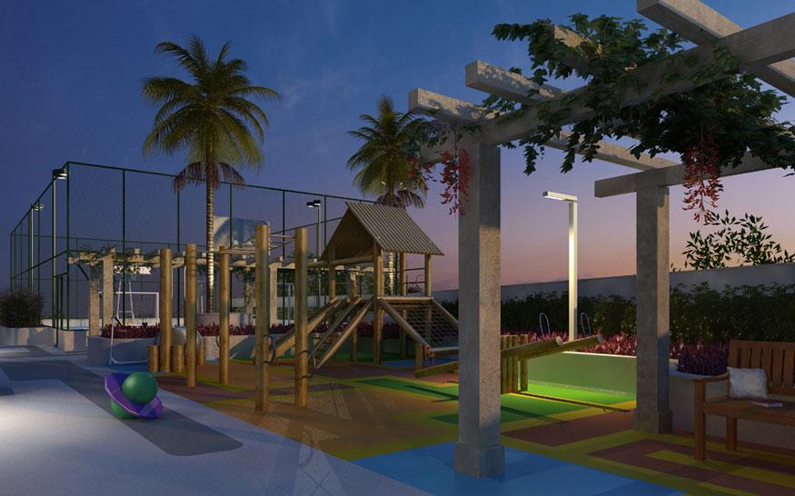 Perspectiva Ilustrada da Quadra e Playground Malbec