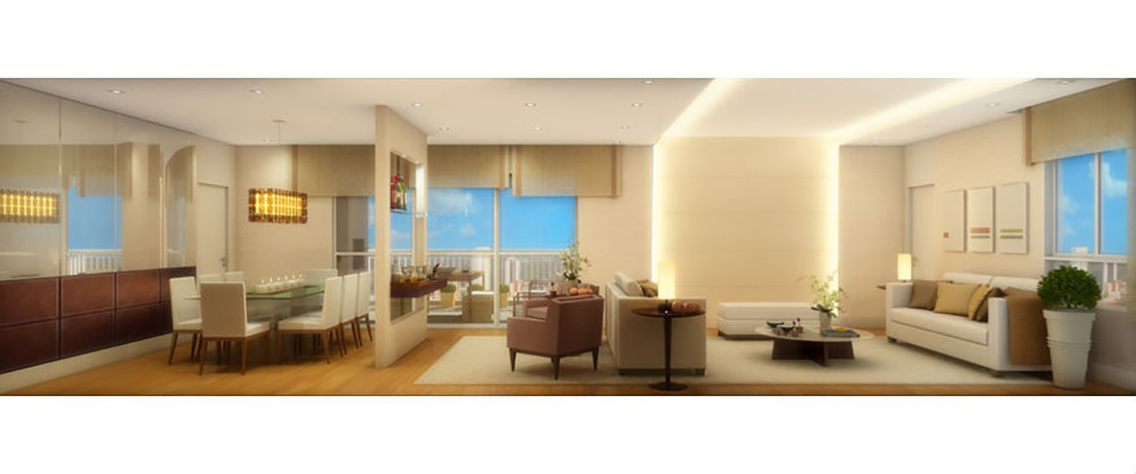 Perspectiva Ilustrada do Living Ampliado 168m² LUIZA