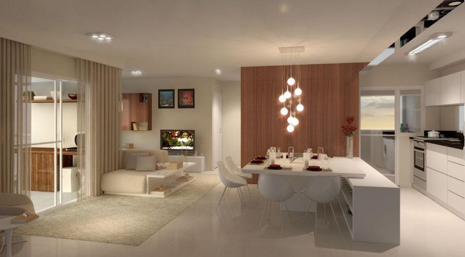 Perspectiva Ilustrada do Living Ampliado 72 m² Vila Allegra