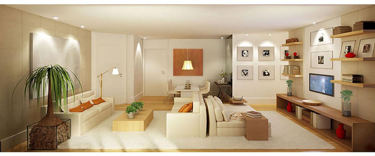 Perspectiva Ilustrada da Sala 101 m² Wave