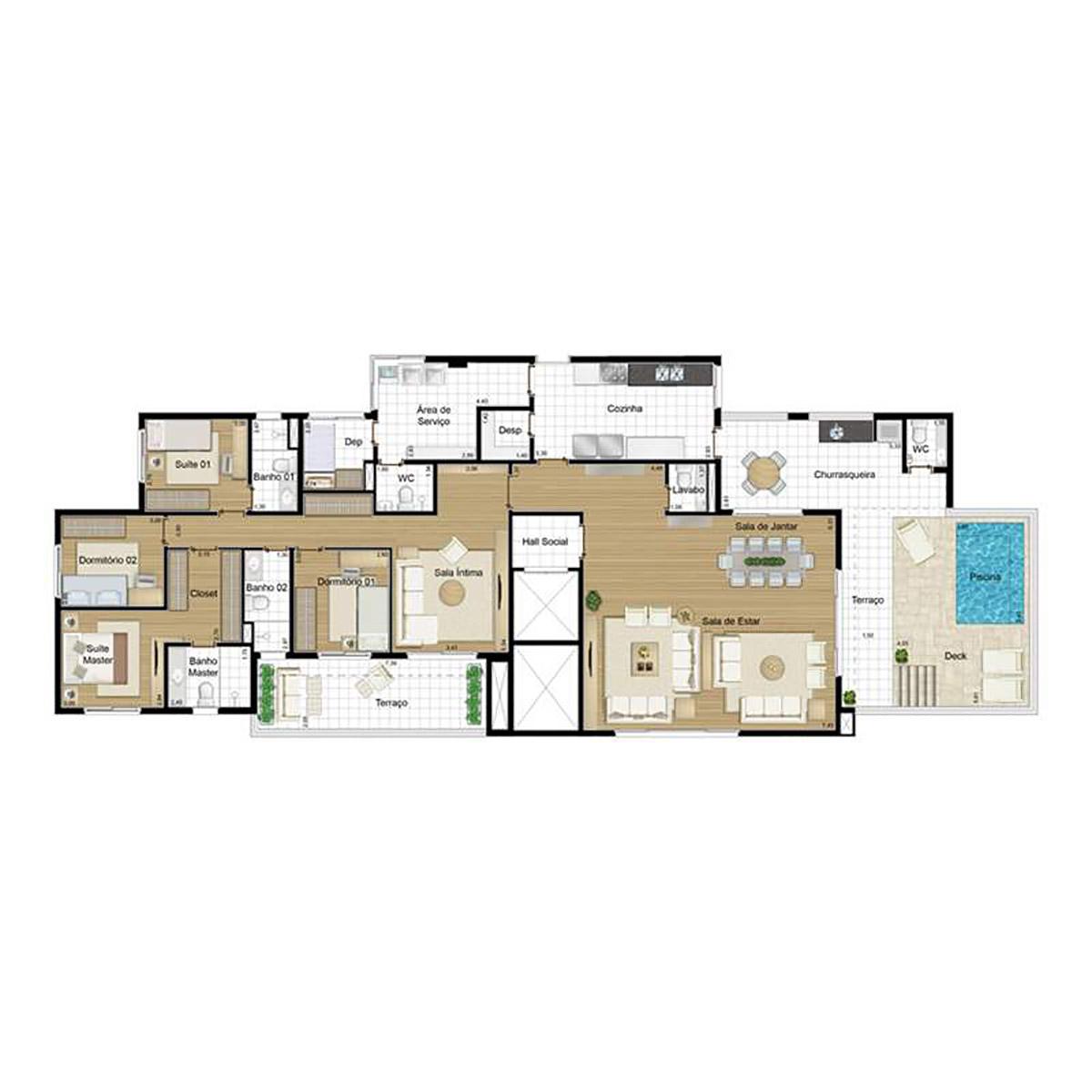 Ilustração Artística da Planta Penthouse 263 m² Tipo 1 Andorinha