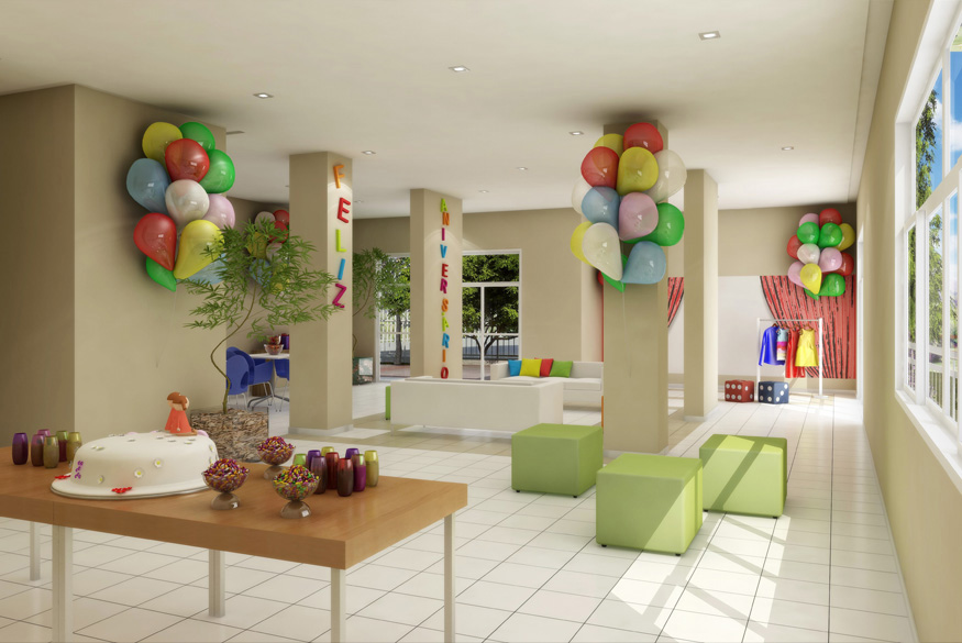Perspectiva Ilustrada do Salão de Festas Infantil Andorinha