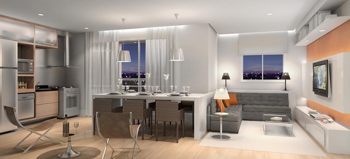 Perspectiva Ilustrada da Sala Ampliada Cozinha Gourmet 55m² Chardonnay