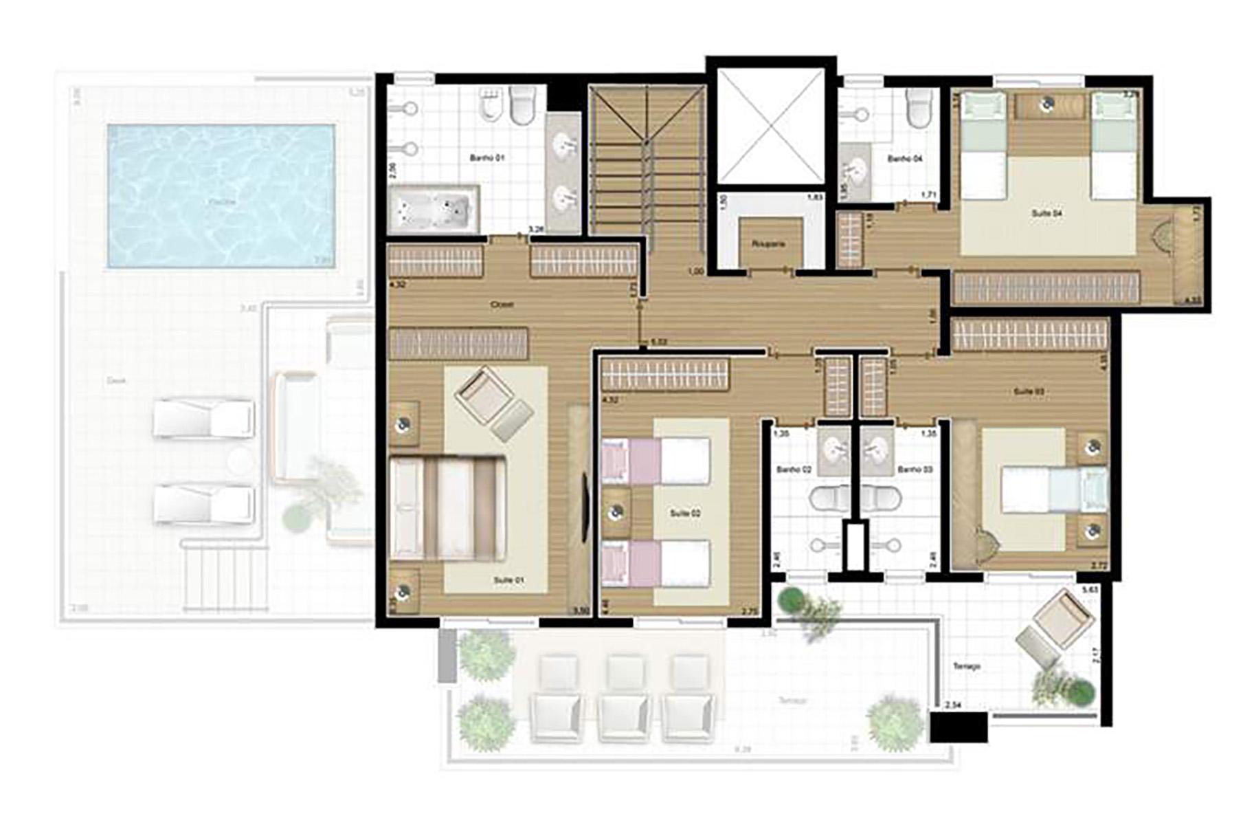 Ilustração Artística da Planta da Cobertura 224 m² Piso Superior Corcovado