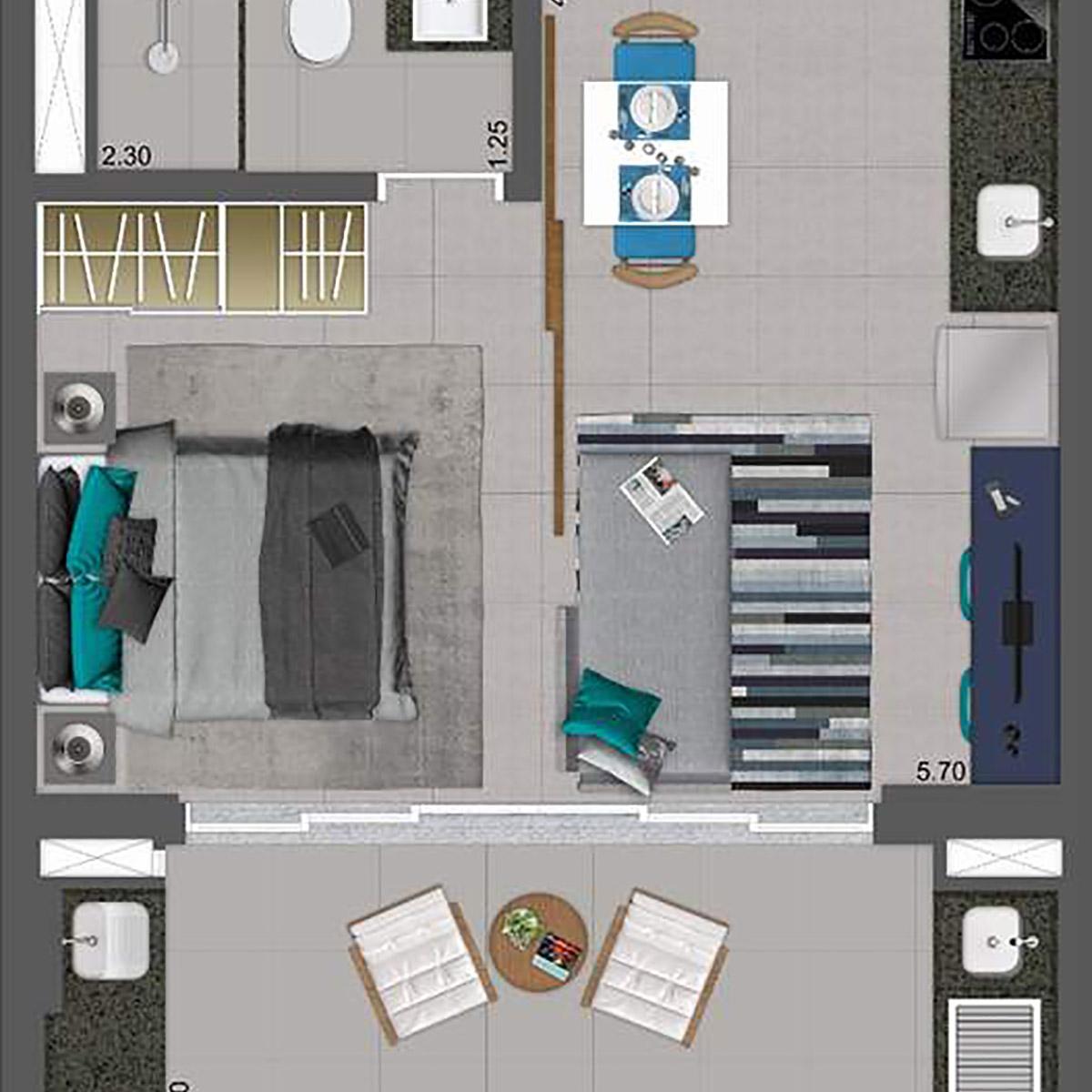 39 m² - Living Integrado Parkway Panamby