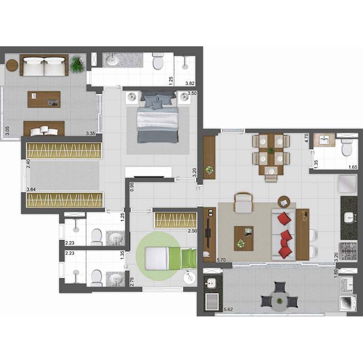 Cobertura de 97m² (opção da suíte com closet) Parkway Panamby