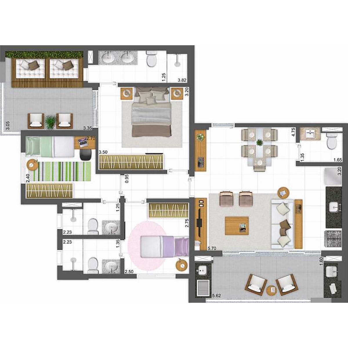 57 m² - Living Ampliado Parkway Panamby