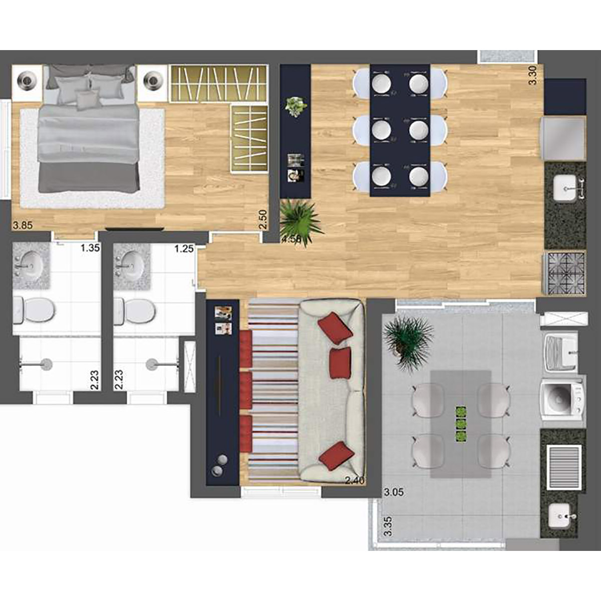 57 m² - Living Ampliado Parway Panamby