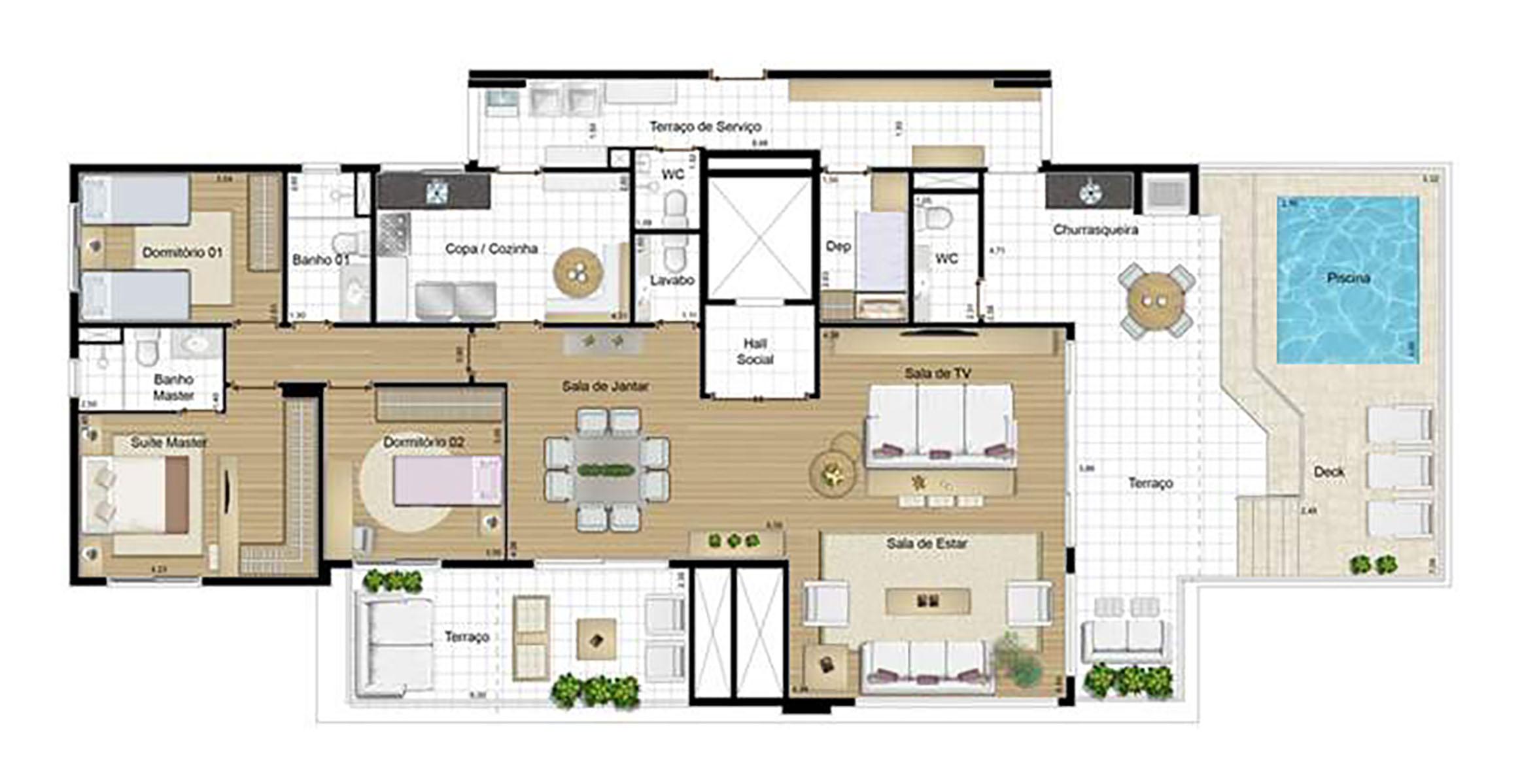 Ilustração Artística da Planta da Penthouse 224 m² Antígua